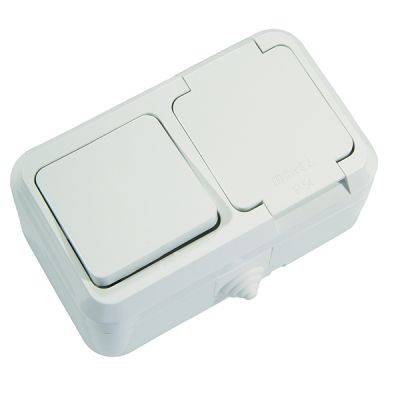 Intrerupator+priza PT cu pamantate cu capac IP44 alb MAKEL