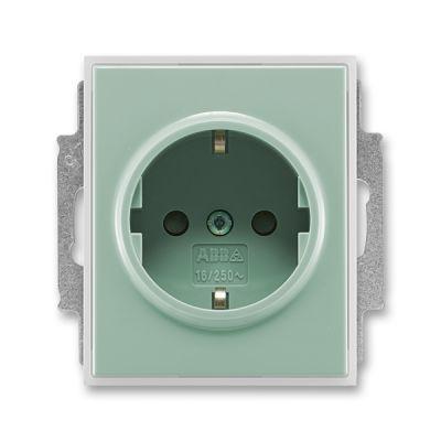 Priza simpla ST cu impamantare verde/alb translucid Time+Element