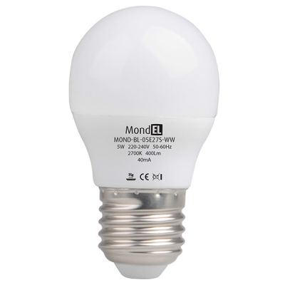 Bec cu LED sferic E27 5W/830 230V alb cald