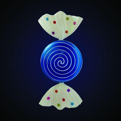 Produs decorativ Candy Apple  h=46.99cm albastru/alb