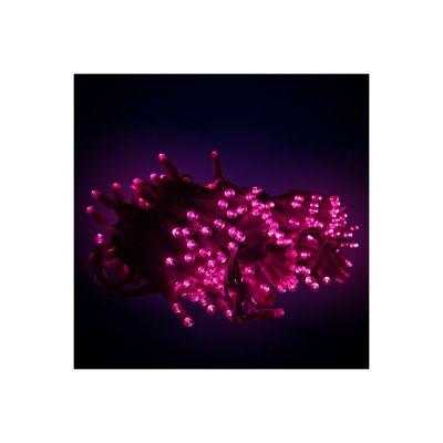 Sir luminos 10m 100 led-uri roz cu cablu verde