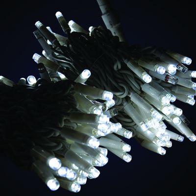 Sir luminos 10m 100 led-uri alb rece  cu cablu alb