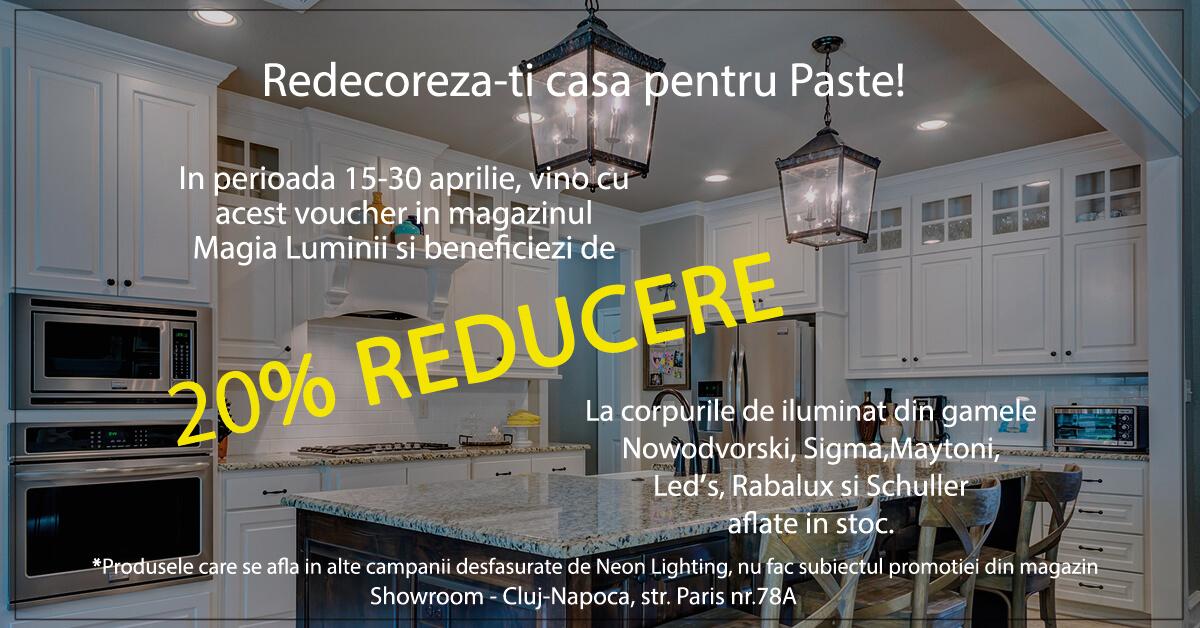 Voucher 20% reducere in Showroom-ul Magia Luminii din Cluj